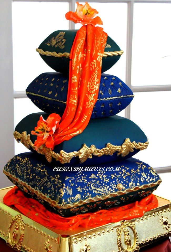 clean elegant shaped pillow cake...would like more details but like the shape and richness of the colors