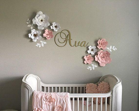Set Of 10 White Light Pink Paper Flowers Girls Room Nursery