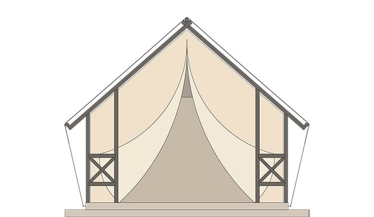 GLAMPING TENT  Overall sleeping places 4 Body length 4,3 m Total width 7,8 m