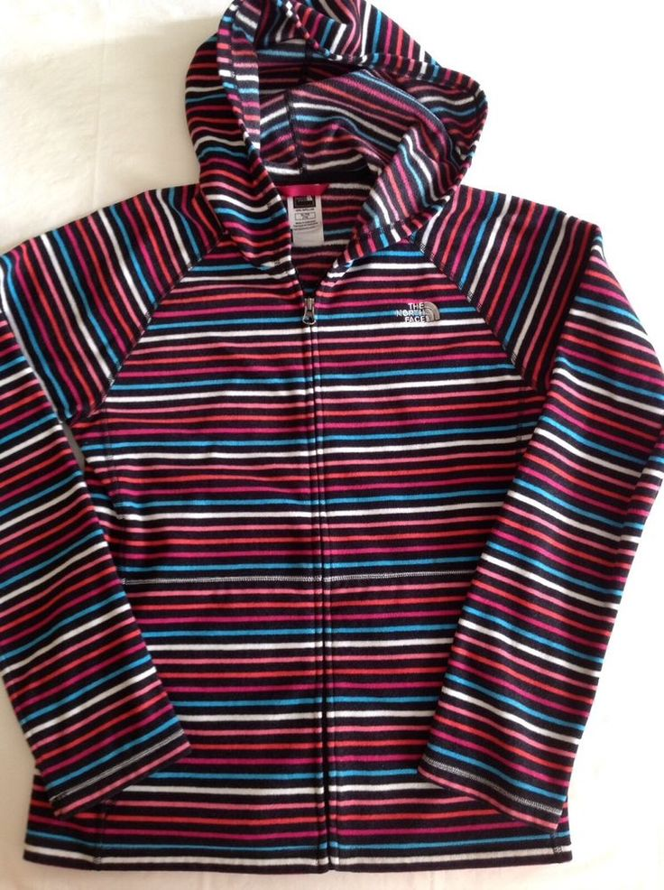 The North Face Girl's  XL/TG Striped Multi Color Zip Up Hooded Jacket Sweater  | eBay