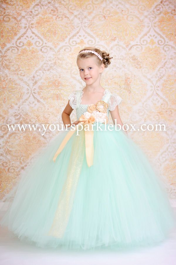 tutu Flower Girl Dresses | Mint, Gold and Ivory Vintage Tutu Dress
