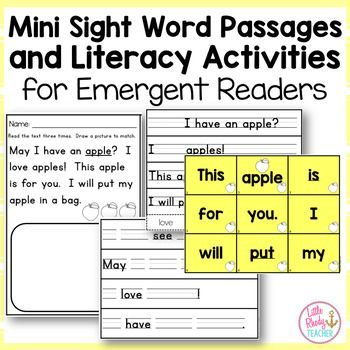 This download includes 20 Mini Sight Word Passages and three related literacy activities! Download the preview for 2 FREE pages!  The 36 sight words included in this pack are words which overlap in Dolch and Fry sight word lists, with the exception of the word love.