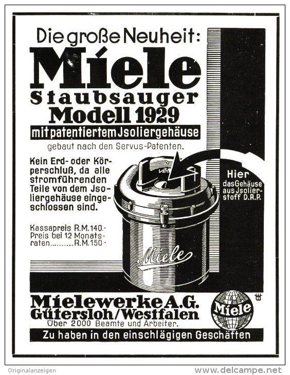 Original-Werbung/ Anzeige 1929 - MIELE STAUBSAUGER  - ca. 100 X 120 mm