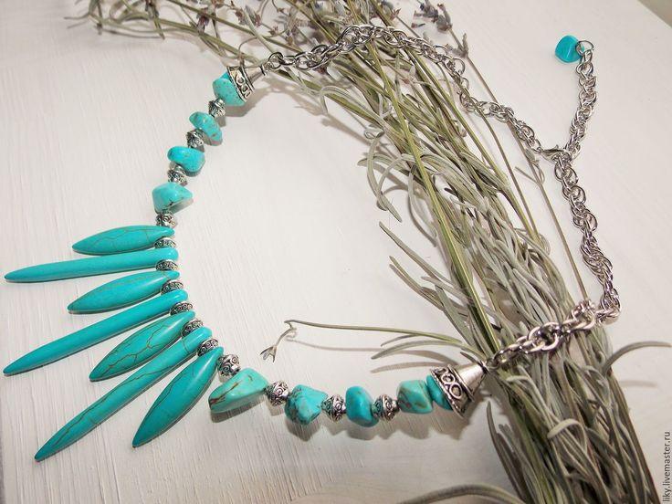 Купить Колье бирюзовое - бирюзовый, голубой, голубые камни, голубые бусы, голубое колье