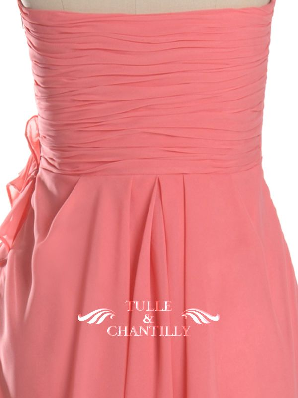 Cute Beaded Floral Coral Short Cocktail Bridesmaid Dress 4