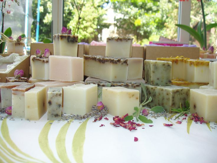 To create natural handmade soap, palm, coconut oil, and olive are gently warmed and blended with fabulous cocoa butter and shea butters before being hand mixed with the alkali solution. I then add carefully prepared flower and herb decoctions and infusions, plant extracts, fine oils, dried herbs or spices and then, of course, our deliciously expensive pure essential oils to fragrance and impart their natural beneficial properties to the soap.