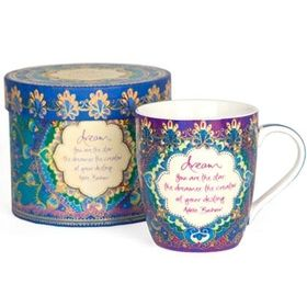 Peacock Dreams Mug by Adele Basheer. Quote on mug: 'Dream. You are the star, the dreamer, the creator of your destiny'. Available at threemadfish.com