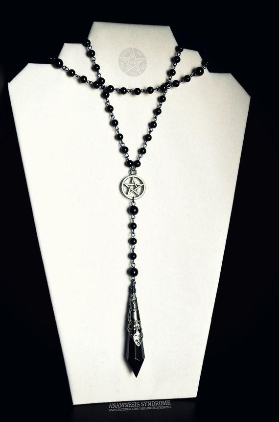 Chapelet Rosaire Gothique Pendule noir, pentacle, perles noires, protection ésotérique