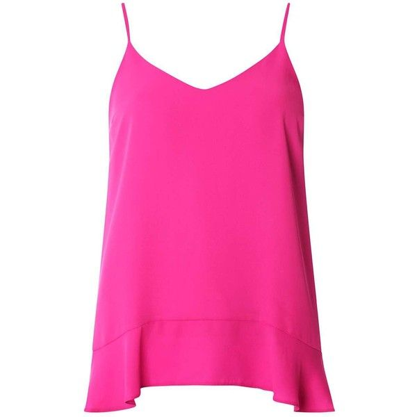 Dorothy Perkins Pink Ruffle Hem Cami Top ($35) ❤ liked on Polyvore featuring tops, pink, pink cami, ruffle hem tank, dorothy perkins, pink camisole top and pink tank