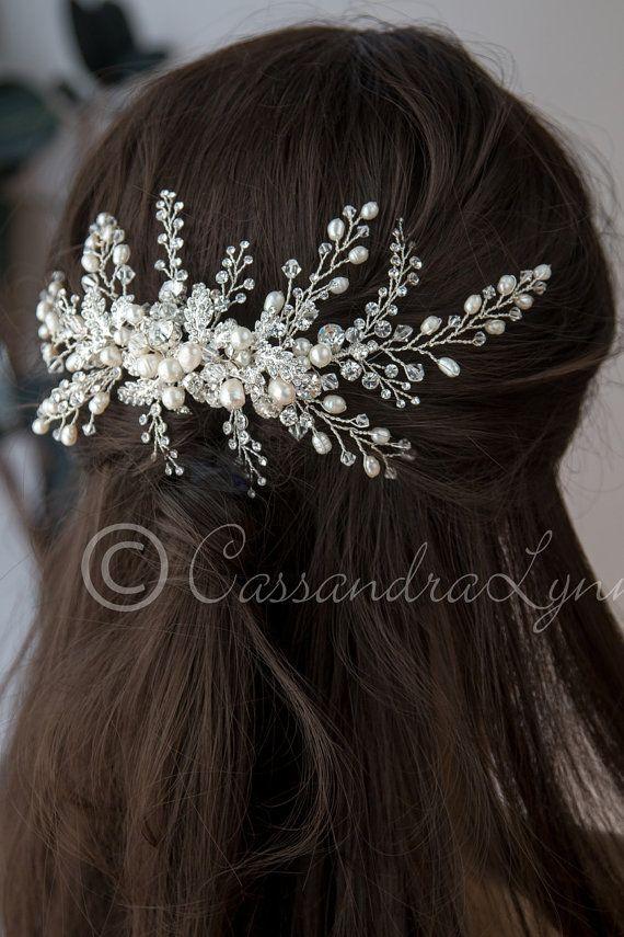 Peine grande de la boda de Marfil perla y cristal aerosoles