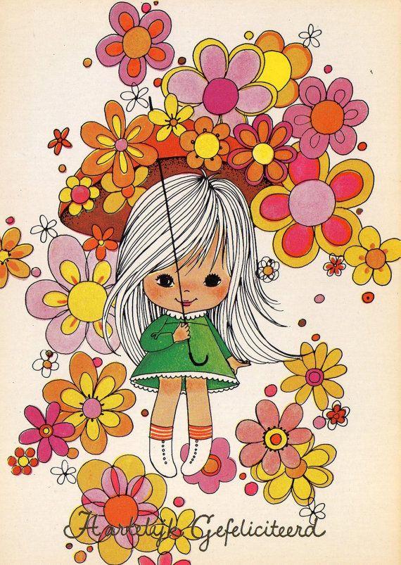 Vintage Postcard Seventies Flowerpower by CuteEyeCatchers on Etsy