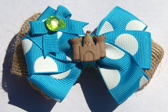 bright blue and burlap sandcastle hairbow summer by mylittlebows,: Hairbows Tutorials, Burlap Sandcastl, Summer Hair, Sandcastl Hairbows, Hairbows Summer, Bright Blue, Hair Bows, Hair Accessories, Hair Girls