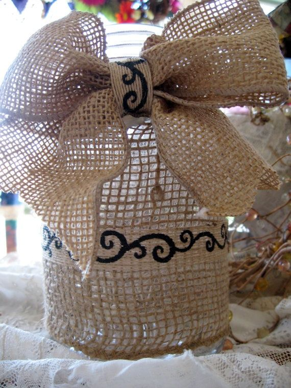 Country Wedding with Burlap | Shabby Chic Country Wedding Burlap Mason Jar by LolitasAddiction, $12 ...