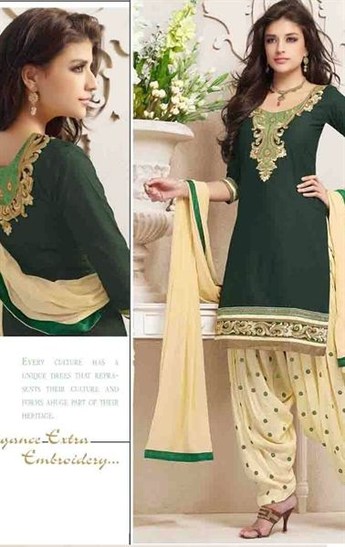 Picture of Majesty Olive Color Patiala Kameez