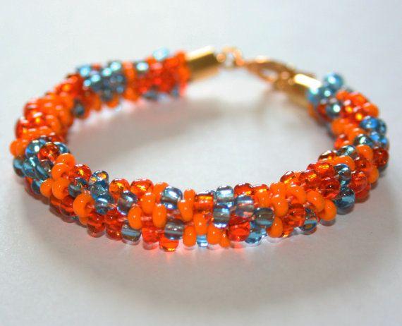 Orange & Blue Kumihimo Beaded Bracelet with Gold by EmmaEmJD, £14.44