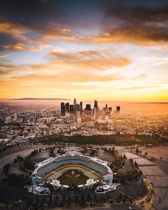 Downtown Los Angeles skyline view from Dodger Stadium