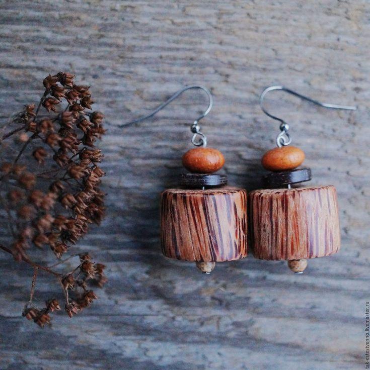 Купить Серьги из дерева (кокос, дуб) и яшмы коричневые - коричневый, серьги, деревянный, дерево, Кокос