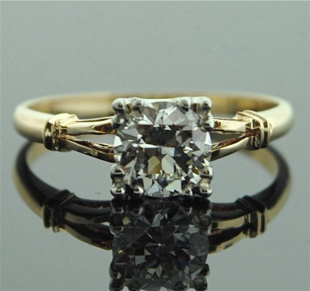 Diamond Engagement Ring - Yellow Gold with European Cut Diamond. $6,850.00, via Etsy.