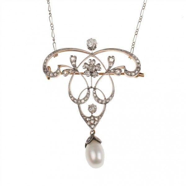 Online veilinghuis Catawiki: 18 kt gouden Belle Epoque-hanger/broche, geplatineerd, parel en diamanten 1,20 ct