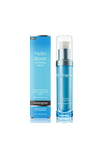 With a heavy-duty boost of hyaluronic acid, this serum feeds skin with moisture for up to 48 hours to keep it supple, glowing, and flake-free.  Neutrogena Hydro Boost Hydrating Serum, $17.99, available at Neutrogena.