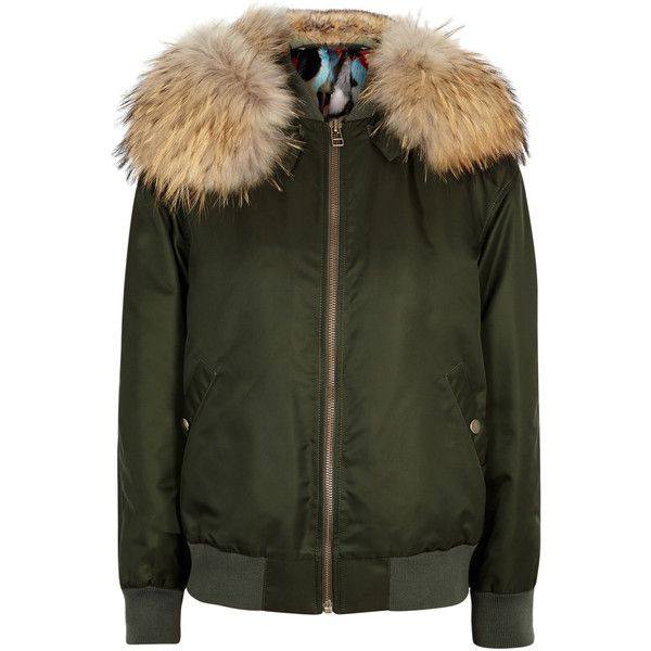 Mr & Mrs Italy Army Green Fur-lined Bomber Jacket - Size XXS ($4,060) ❤ liked on Polyvore featuring outerwear, jackets, flight jacket, zip bomber jacket, military green bomber jacket, fox jackets and olive green bomber jacket