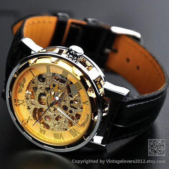 Mens Watch Steampunk Wrist Mechanical Watch Leather Gold - Anniversary Gifts for Men (WAT0081) on Etsy, $19.99