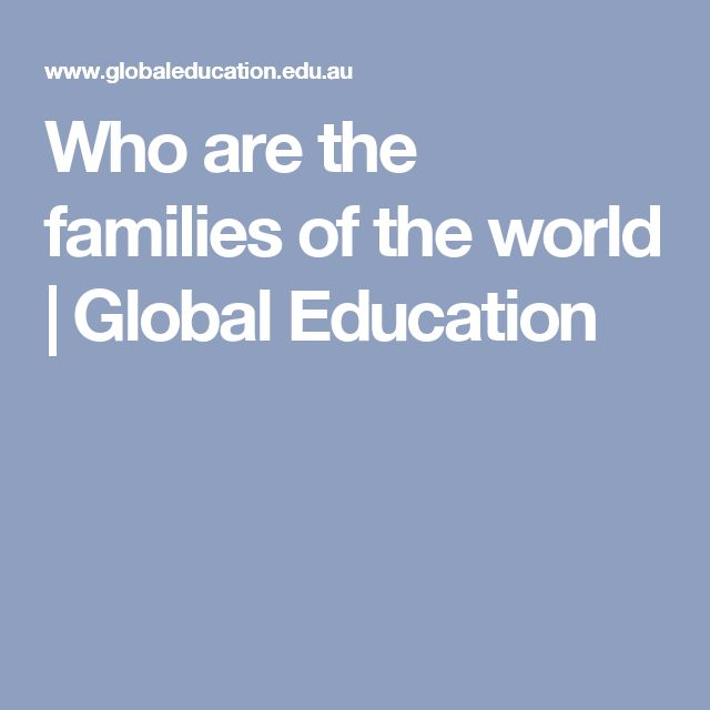 Who are the families of the world | Global Education