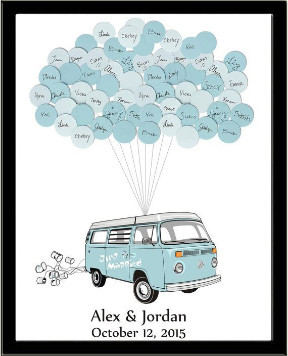 VW Van Wedding Guest Book Print WIth Balloons by SayAnythingDesign