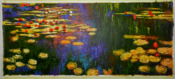 Monet water lilies in acrylic - Charl Bruwer