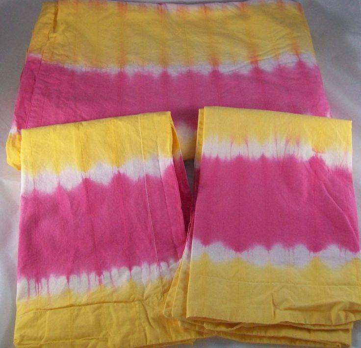 3pc Pottery Barn Kids Tie Dye Twin Duvet 2 Standard Sham Bright Pink Yellow Teen #potterybarnkids