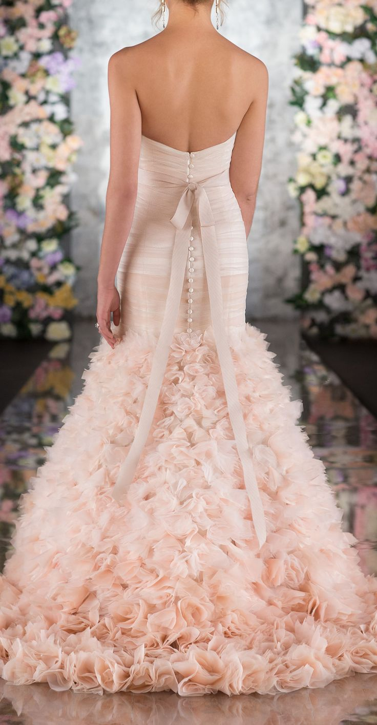 Blush Ruffled Gown Wedding Dress Pinterest Wedding