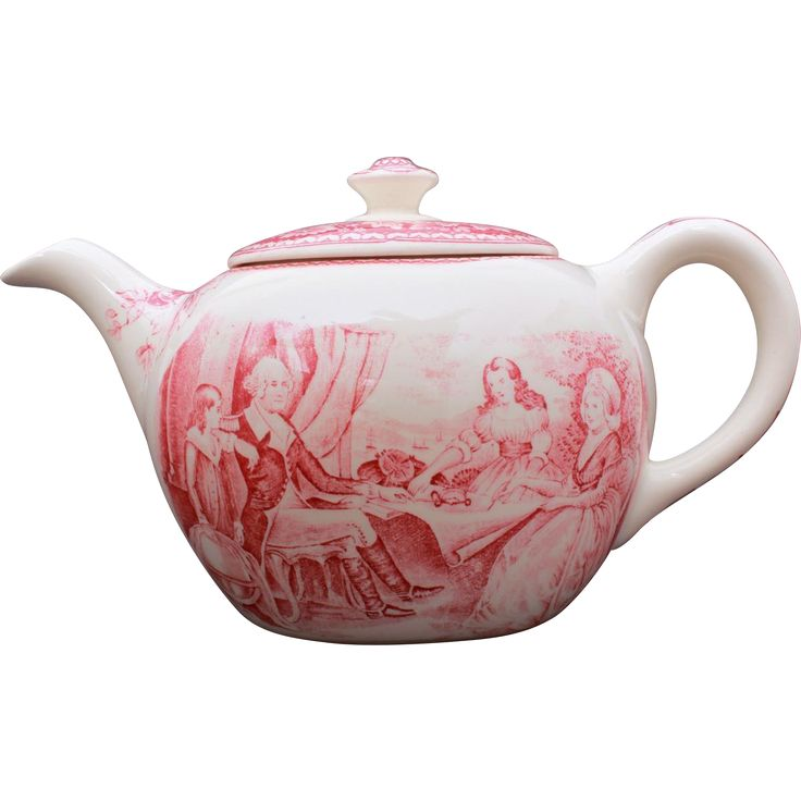 This vintage teapot from Homer Laughlin features George Washington in red transferware.Vintage Pottery @rubylanecom #vintagebeginshere #rubylane