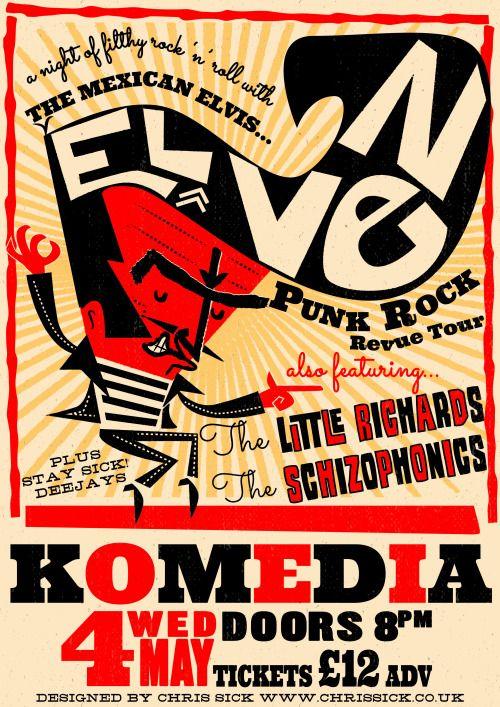 El Vez - the Mexican Elvis poster  designed by Chris Sick www.chrissick.co.uk