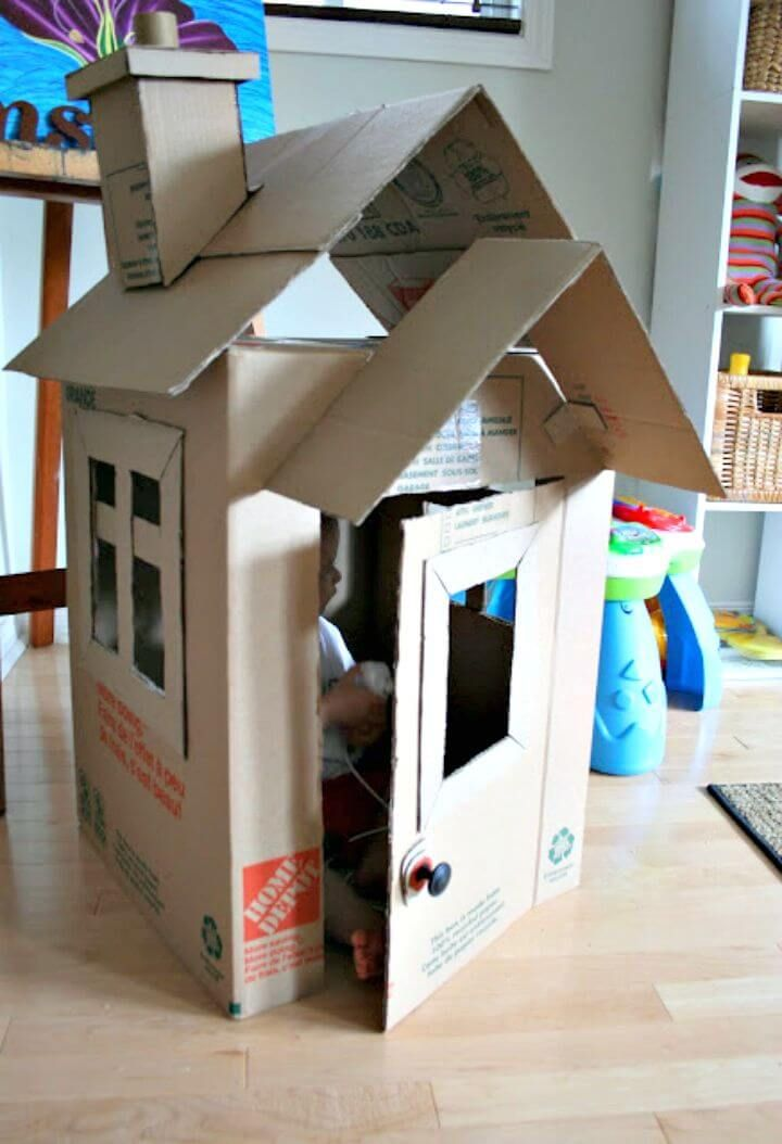 15 Diy Cardboard House Ideas Cardboard House Cardboard Box Houses Cardboard Playhouse