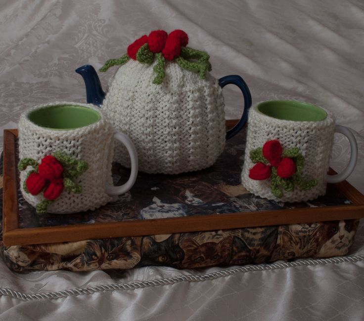 Cherry Tea Cosy (for standard size teapot) and Two Mug Cosies