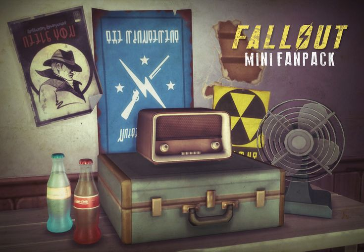 "litttlecakes: "" Simblreen Gift part 3/3! @quiddity-jones and I did a little Fallout mini fanpack based on a request I got a while ago! We've got a (glowing) Nuka Cola, fallout posters in all their..."