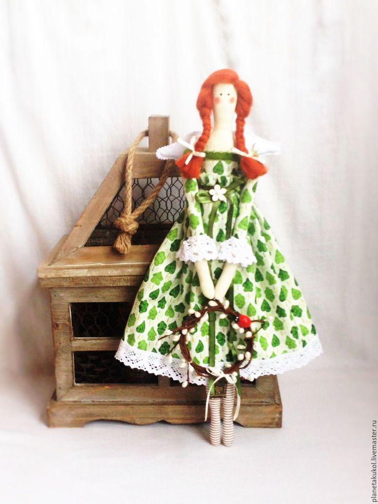 Купить кукла ангел Вербное воскресенье оберег для дома - зеленый, винтажный ангел, ангел тильда