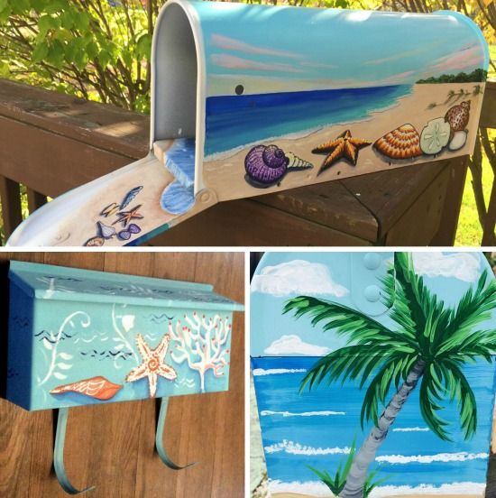 Hand Painted Beach Art Mailboxes.... http://www.beachblissdesigns.com/2017/05/painted-beach-art-mail-boxes.html