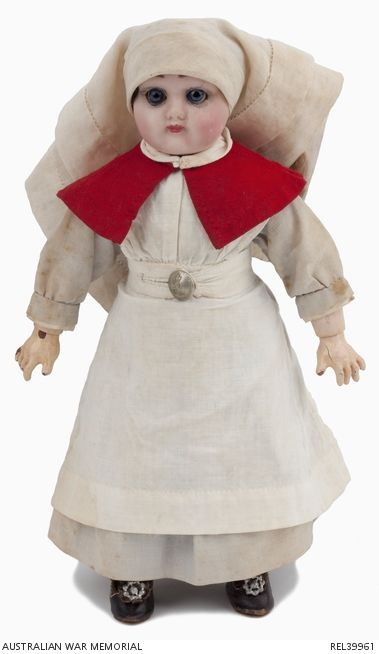 Australian Army Nursing Service Doll : Sister N C Morrice, 2 Australian General Hospital   Australian War Memorial.This doll was commercially produced by an unknown manufacturer. Sister Nellie Constance Morrice made an Australian Army Nursing Service outfit for the doll as a gift for her four year old niece Peggy in 1915.
