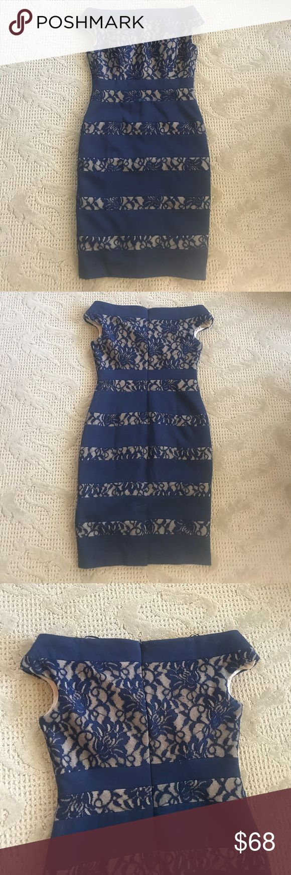 Saks Lace Dress Saks Off the Shoulder Lace Dress; Brand is Jax; Blue and Nude Lace; Lined; Built in Bra Support; Hidden Zip Closure in Back; Hits at Knee; Excellent Condition Saks Fifth Avenue Dresses Midi