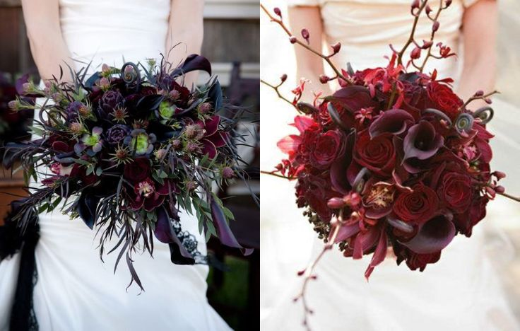 букет для готической свадьбы, черные цветы, черные тюльпаны