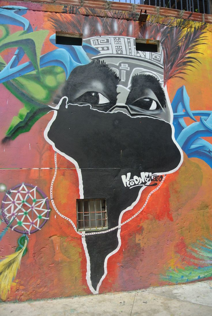 South America Street Art Mural, Comuna 13, Medellín, Colombia.