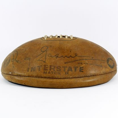 """Reg Gasnier Football - Orginal Hawk """" Reg Gasiner ' football - Interstate match II - leather - from 1960's - """"Designed for use in International & Interstate Fixtures"""" - excellent condition - Aussie sporting history"""
