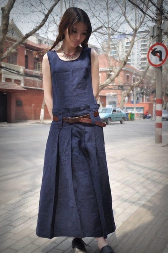 Blue Linen Dress/ Maxi Sundress Long Dress Gown / Maxi Kaftan Caftan/ Navy Dress…