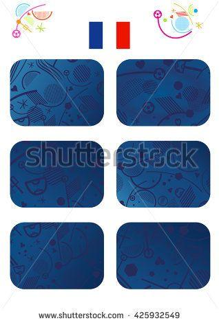France Championship Soccer background. Abstract blue patterns set. European Championship Soccer symbols and France flag icon. Vector Illustration For Art, Print, Web design Football Sport World games UEFA