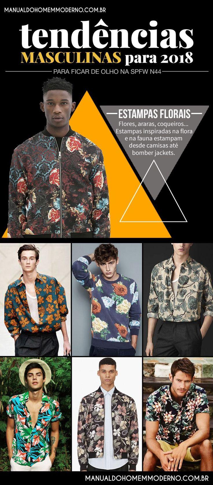 As estampas florais prometem estar em alta na moda masculina em 2018.