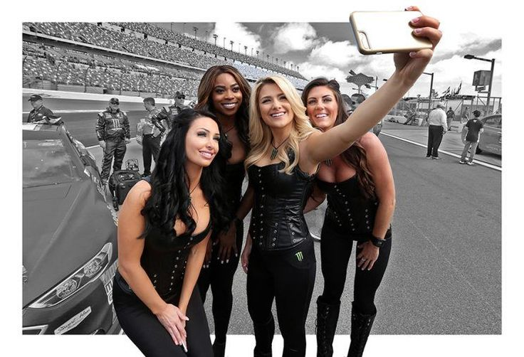 Four Monster Energy girls take a selfie.