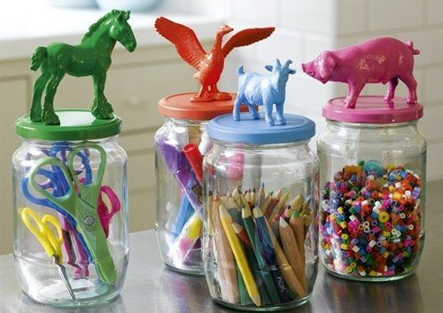 Yep you guessed it! Mt. Olive Pickle Jars! Pickle Jars + Spray Paint + Dollar Tree Figurines + Loctite Super Glue = FRICKEN CUTE STORAGE JARS for the kid who CAN'T THROW ANYTHING AWAY!!!!!