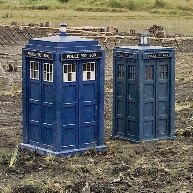 Filming for the Doctor Who 2017 Christmas Special. A closer shot at the 1st Doctor's TARDIS.