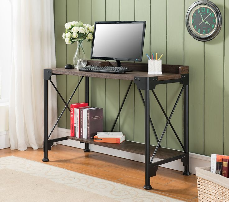 Antique Walnut Metal & Wood Contemporary Home Office Desk Workstation Table With Storage Shelf